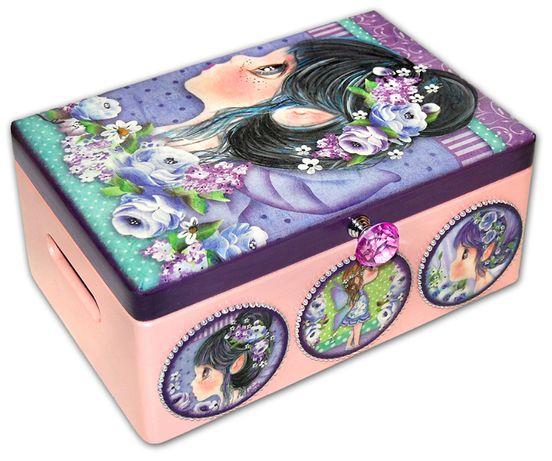 KUFEREK skrzynka ELF drewniane pudełko 30x20 duża szkatułka