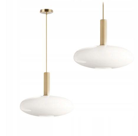 LAMPA wisząca SUFITOWA szklana MLECZNA ZŁOTA Gold 30x24 cm