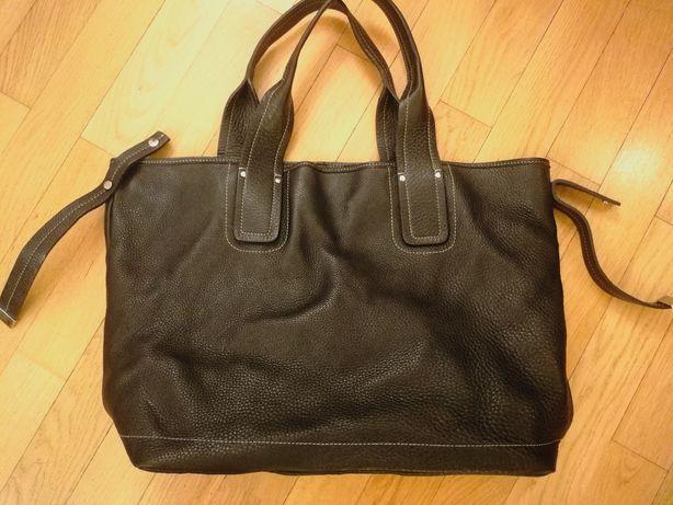Czarna skórzana torba shopperka Bagatt