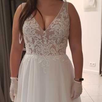 Suknia ślubna ivory + welon 180 cm, Sweetheart 11070, rozm. 40-42.
