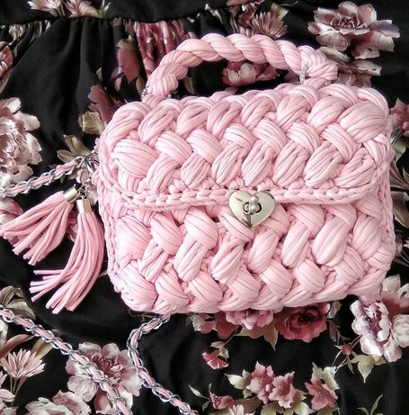Wysyłka 1 zł Różowa torebka szydełkowa handmade z t-shirt yarn