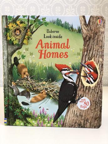 Usborne , Look inside animal homes, книга игрушка с окошками