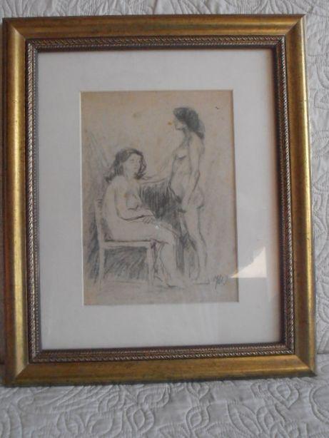 Rysunek podwójny Akt kobiecy Józef Wasiołek.