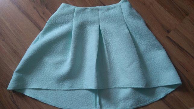 Elegancka spódnica miętowa kieszenie r. 36