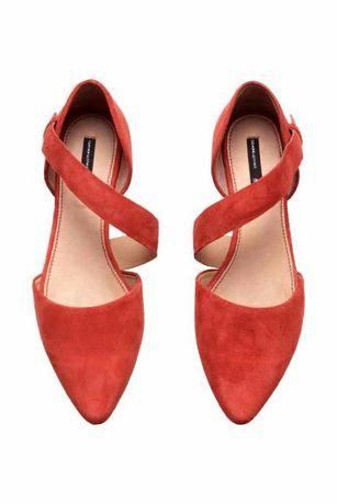 Nowe H&M zamaszowe buty baleriny, sandałki