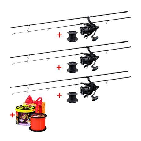 Карповый набор Удилища CarpPro DCarp+Катушки Flagman Rocket 9000+Леска