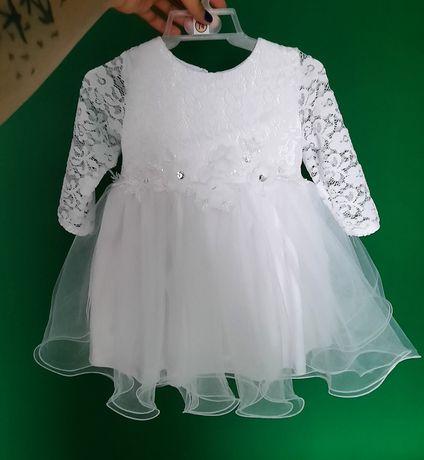 Sukienka z futerkiem do chrztu roz 74