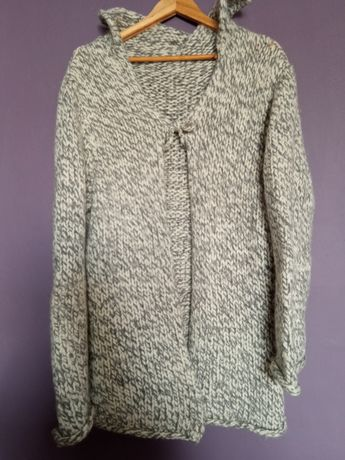 Wełniany sweter kardigan szary 44 42
