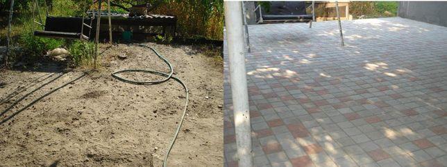 Укладка тротуарной плитки, тротуарная плитка.