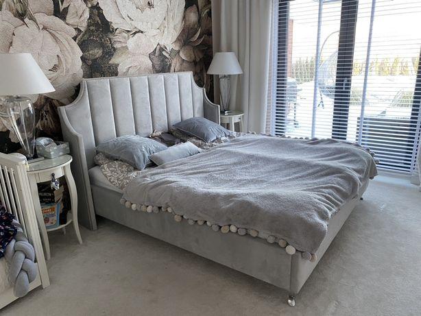 Łóżko tapicerowane glamour sypialnia welwet stelaż pojemnik chrom