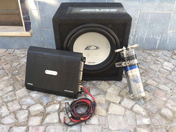 Subwoofer + Amplificador + Pilha