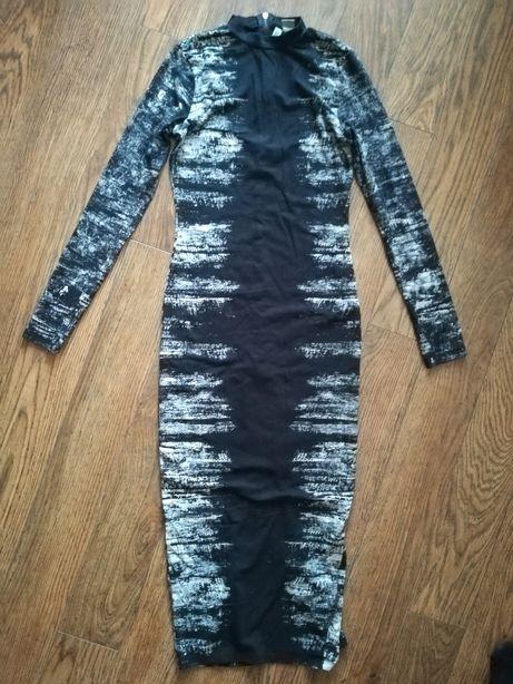 Sukienka punk czarna wzór H&M