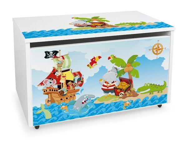 Duża drewniana skrzynia na zabawki XXL na kółkach Motyw: Piraci