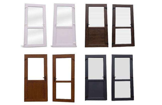 Drzwi PCV sklepowe zewnętrzne 90x210 białe nowe RÓŻNE ROZMIARY OD RĘKI