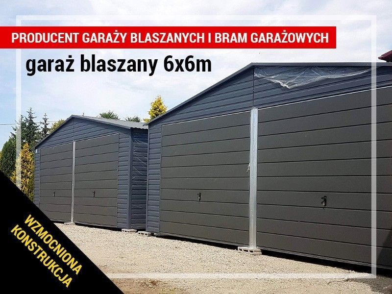 Garaż blaszany w kolorze RAL blaszak 6x6 konstrukcja z profili OKAZJA