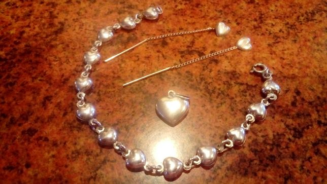 Srebrny komplet na Walentynki 925
