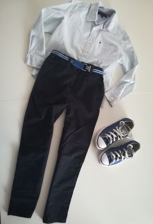 Spodnie materiałowe Reserved 128 do szkoły pasek gratis