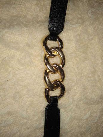 Pasek czarny / złote wstawki