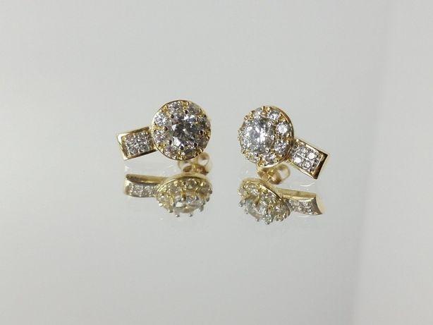 Nowe Złote Kolczyki 585 2,91G CYRKONIE SZTYFT