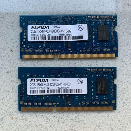 2 x Pamięć Ram z Apple MacBook Pro 2GB DDR3 So Dimm 1Rx8 12800S