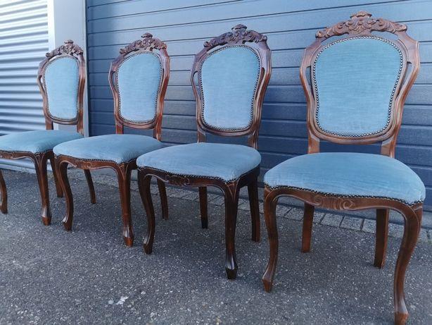 4 krzesla barokowe z niebieskim obiciem
