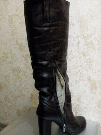 Кожаные высокие зимние сапоги, ботфорты, 38 размер