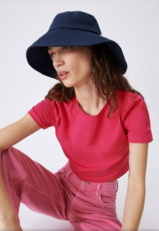 Панама ZARA панамка шляпа синяя хлопок с завязкой S