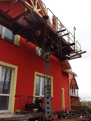 dzwig, winda towarowa, ruchome elektryczne rusztowanie do elewacji