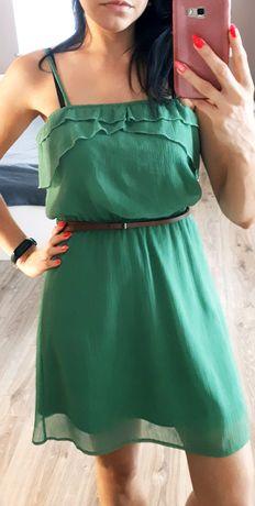 Sukienka zielona pull &bear z paskiem rozmiar S zwiewna