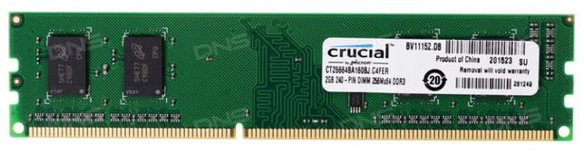Оперативная память для компьютера Crucial DDR3-1600 2GB PC3-12800