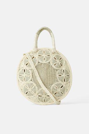 ZARA Okrągła torba koszyk z naturalnych materiałów ecru