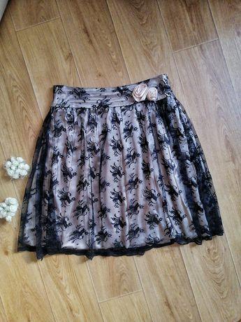 Гипюровая юбка миди чёрная с бежевым