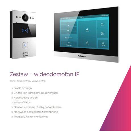 Wideodomofon stacja wewnętrzna 7 cali oraz stacja zewnętrzna, bramowa