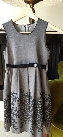 Sukienka elegancka na ramiona szara 128 koniec roku szkolnego