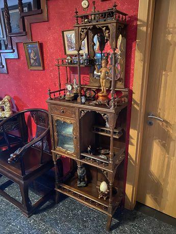 Estante Armário móvel Madeira arte nova séc XIX antigo 185cm por 68cm