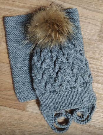 Вязаная шапочка(ручная работа)шапка зима