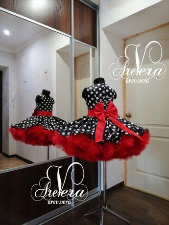 Нарядное детское платье выпускное стиляги горошек горох кукла красное