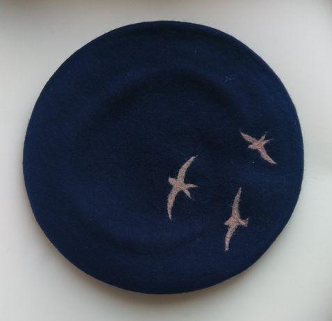 Берет шапка птахи як з Pinterest шерсть фетр