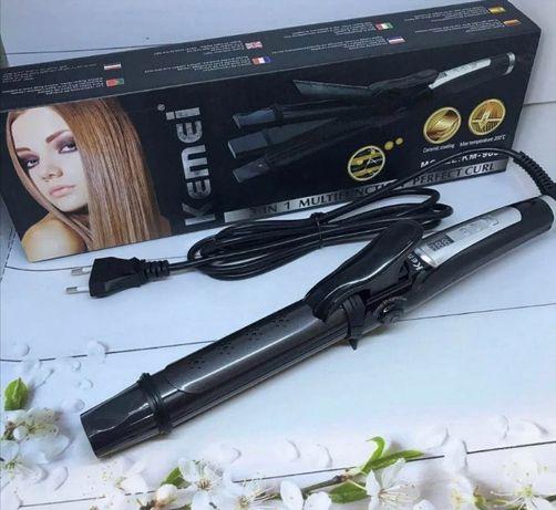 Плойка для волос Kemei GB-KM 988 3 в 1   Щипцы   Утюжок (РОЗОВАЯ)