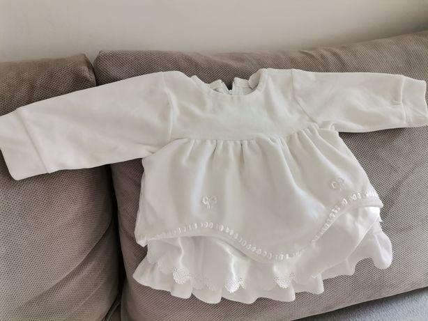 Ciepła sukienka chrzest+ pelerynka i kolnierzyk