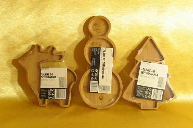 Talerze, tacki do serwowania świąteczne, bambusowe. Komplet