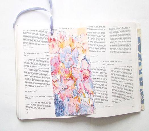 pastelowe zakładki do książki, drobiazgi na prezent, prezenty dla gośc