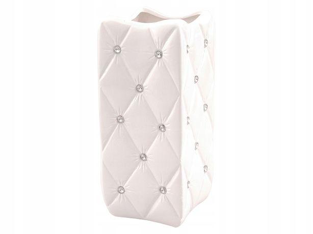 Wazon biały ceramiczny kryształy cyrkonie glamour ozdbny nowoczesny