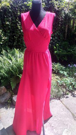 przepiękna brokatowa suknia malinowy róż r. 38