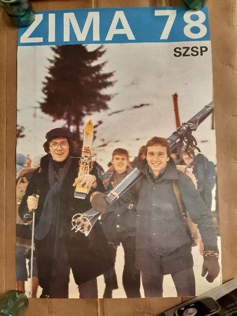 Plakat Zima 78 SZSP 1970 lata 70 Leszek Fidusiewicz PRL ZSRR 1978