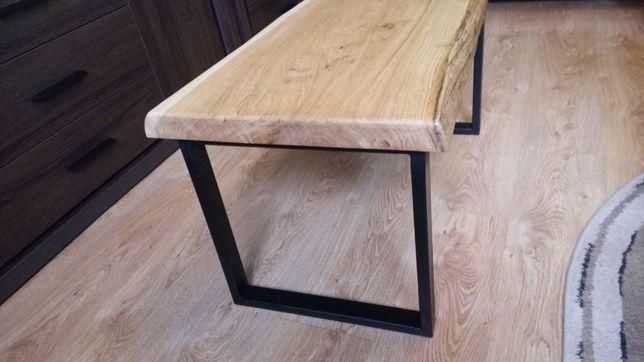 Stolik kawowy drewno dąb, loft, naturalna krawędź