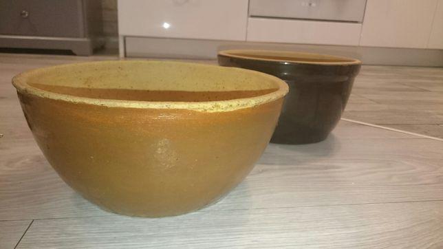 Brązowa, ceramiczna miska, makutra, doniczka.