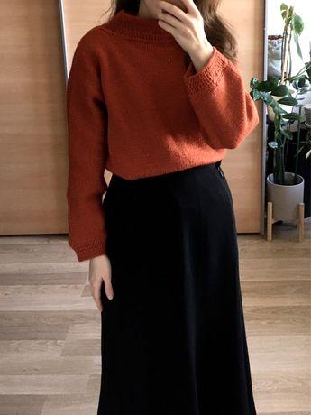 Vintage retro 60s pomarańczowy rudy jesienny sweter oversize półgolf