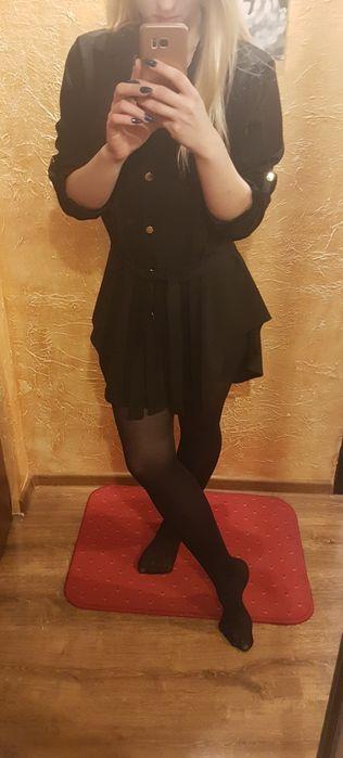 SUKIENKA czarna,  asymetryczna koszulowa, włoska szmizjerka Piotrków Trybunalski - image 1