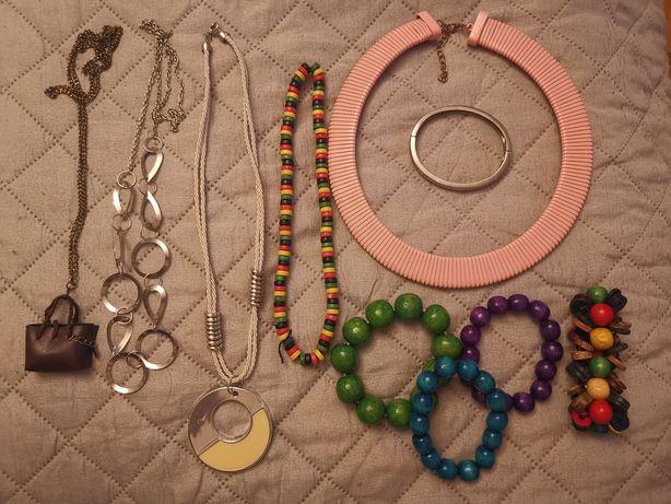 Zestaw biżuterii, 5 wisiorków naszyjnik, 5 bransoletek, bransoletka